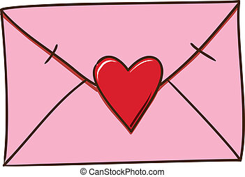 Love letter isolated on white. - Sketch element for romantic...