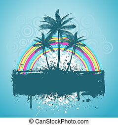 palm tree grunge - Palm trees with rainbow on grunge