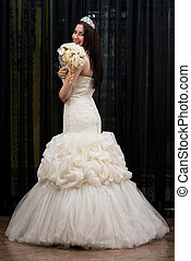 Beautiful Young Bride In Wedding Gown - Beautiful Bride In...