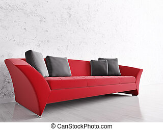 Interior with red sofa - Modern interior with red sofa over...