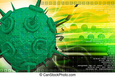 HIV Virus - Digital illustration of HIV Virus in colour...