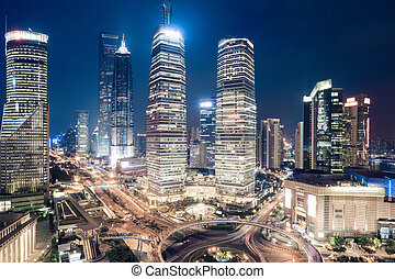 shanghai downtown night view of lujiazui financial center ,...