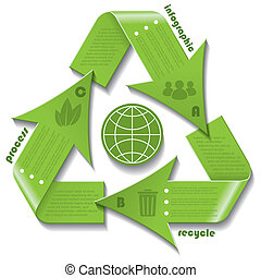 Recycling symbol infographic for business presentation with...
