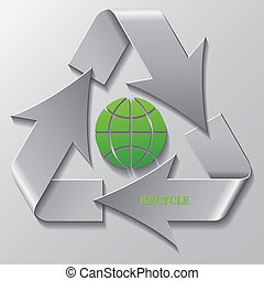 Vector Recycling symbol with green Globe