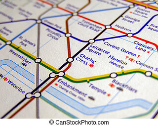 Tube map of London underground - LONDON, ENGLAND, UK -...