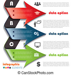 Modern arrows for Infographics template with letters for...
