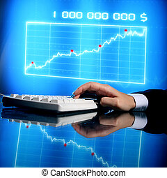 finance data - businessman input finance data information on...