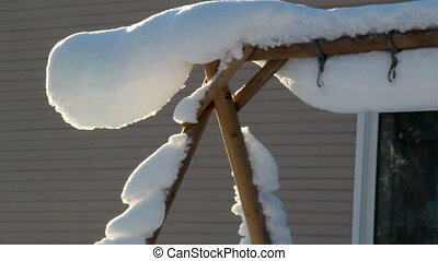 A triangular pole full of snow - A triangular pole is fully...