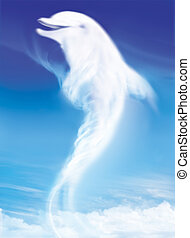 dolphin like white cloud on the blue sky