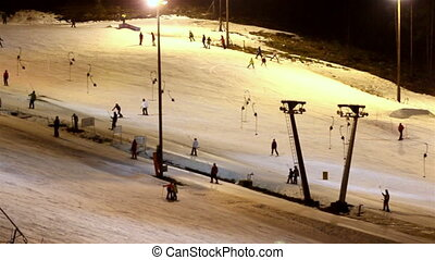 The ski resort at night - The ski resort during night time...
