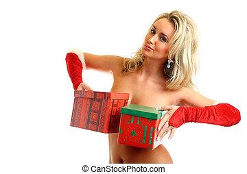 sexy santa girl hide behind gift box