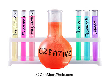 Formula of creativity. - Abstract chemical formula of...