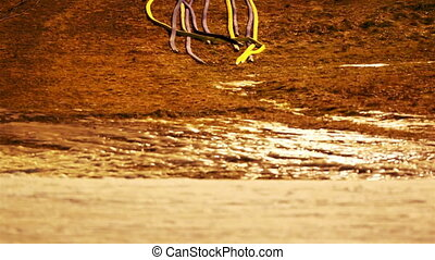 Set of wires laying down on the ground - Set of colorful...