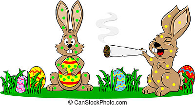 easter bunnies who smoke too much - vector illustration of...