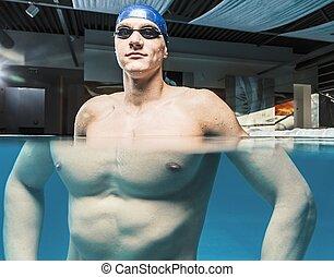 muscular, joven, hombre, azul, gorra, natación, piscina