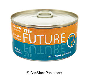 Concept of future. Tin can. Clipping path included.