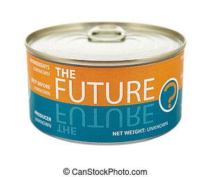 concepto, futuro, estaño, lata