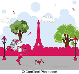 girl with cute little dog in paris. vector