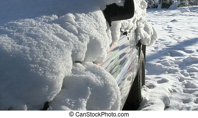 A car covered with snow - A car is fully covered with snow...
