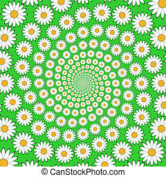 Design chamomile helix movement background. Colorful floral...
