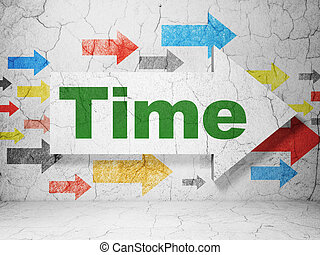 Timeline concept: arrow with Time on grunge wall background...