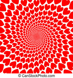 Design red heart spiral motion backdrop. Valentines Day card
