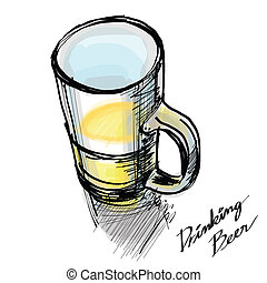 glass of beer hand - drawn