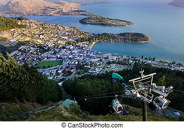 Queenstown New Zealand - QUEENSTOWN, NZ - JAN 17 2014:Aerial...