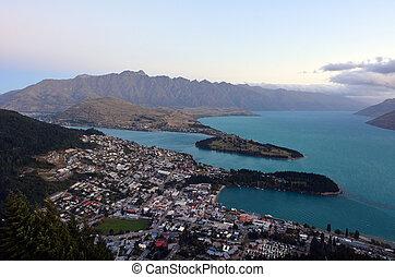 Queenstown New Zealand - QUEENSTOWN, NZ - JAN 17:Aerial view...