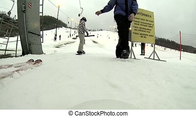 A man is skiing on the resort