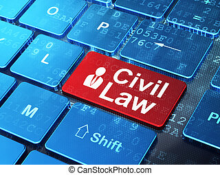 Law concept: Business Man and Civil Law on computer keyboard background