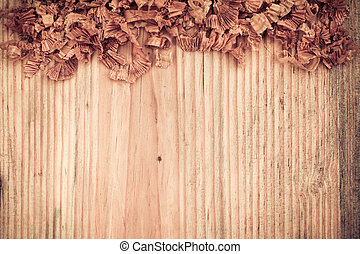 wooden board with woodchips textured background