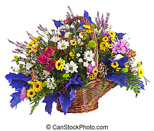Flowers bouquet arrangement centerpiece in wicker basket...