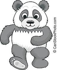 cartoon panda 02 - vector cartoon walking panda with big...