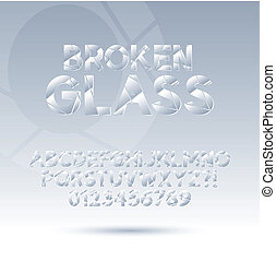 Abstract Broken Glass Font and Numbers, Eps 10 Vector,...
