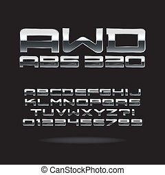 Metallic Chrome Font and Numbers, Eps 10 Vector, Editable...