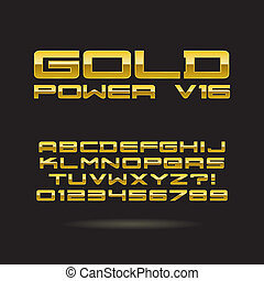 Golden Chrome Font and Numbers, Eps 10 Vector, Editable for...