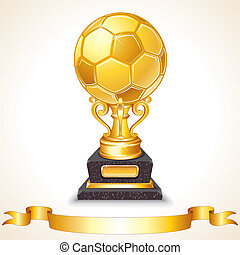 Abstract Golden Soccer Trophy Vector Illustration