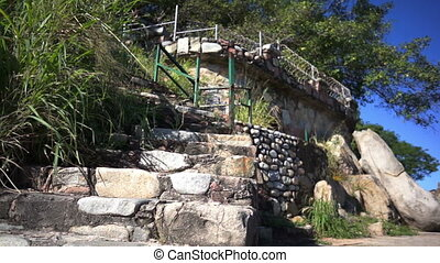 Ruins Old Steps Dolly - Low angle, dolly shot of the...