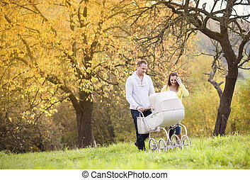 Family with vintage pram relaxing in nature - Happy and...