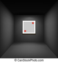 black gallery room background in perspective whith square frame illustration vector