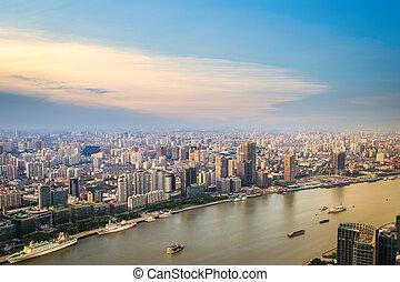 modern city skyline aerial view