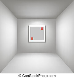 white gallery room background in perspective whith square frame illustration vector
