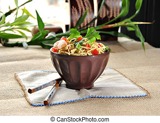 Chinese noodle dish with shrimp and vegetables