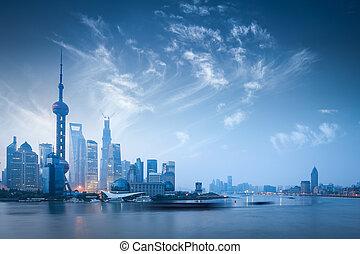 shanghai skyline in dawn - dawn scene of shanghai skyline...