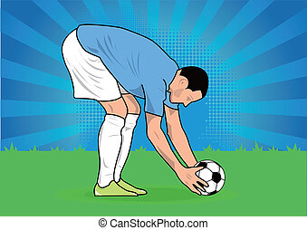 soccer player ready to kick penalty