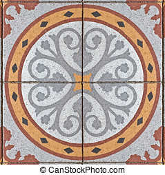 pattern on an ancient square paving tile