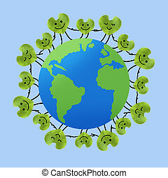 People around the world holding hands, Save the planet and...