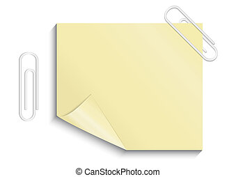 Yellow sticker with paper clips