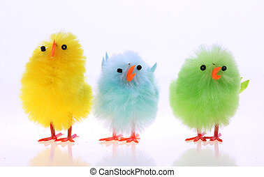 Easter chickens - Easter background with decorative chickens...